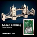 Metal Laser Etching 3D London Tower Bridge Steel Model
