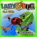 Red Lady Bug UFO Quad Rotor Helicopter RC Remote Radio Control 4 Channels