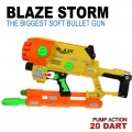 BLAZE STORM Pump Action Soft bullet Gun 20-Darts BIGGEST VERSION
